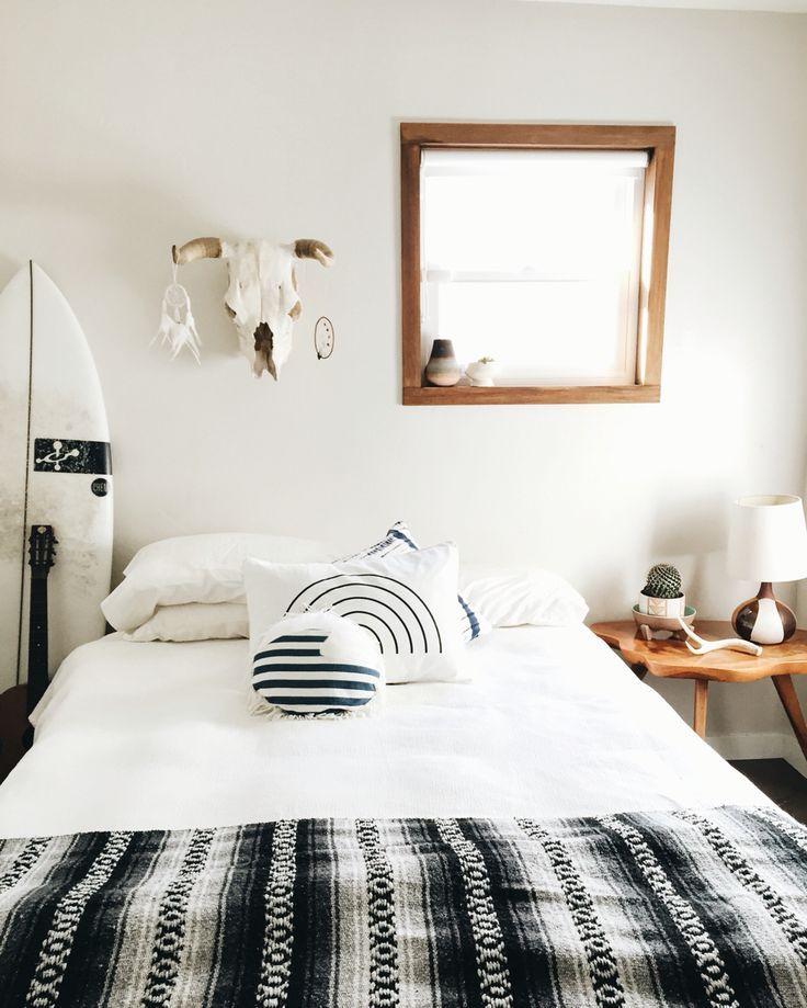 THE WHITECAP: Black, Grey & White Mexican Blanket | Blanket, Boho ...