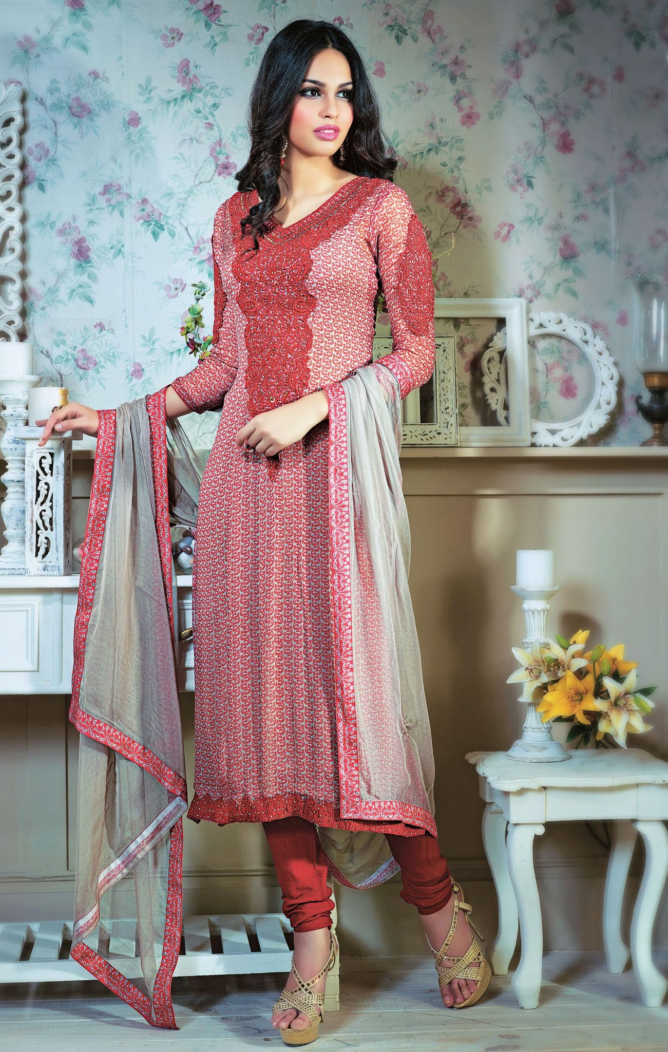 Maroon designer party wear dress materials products pinterest
