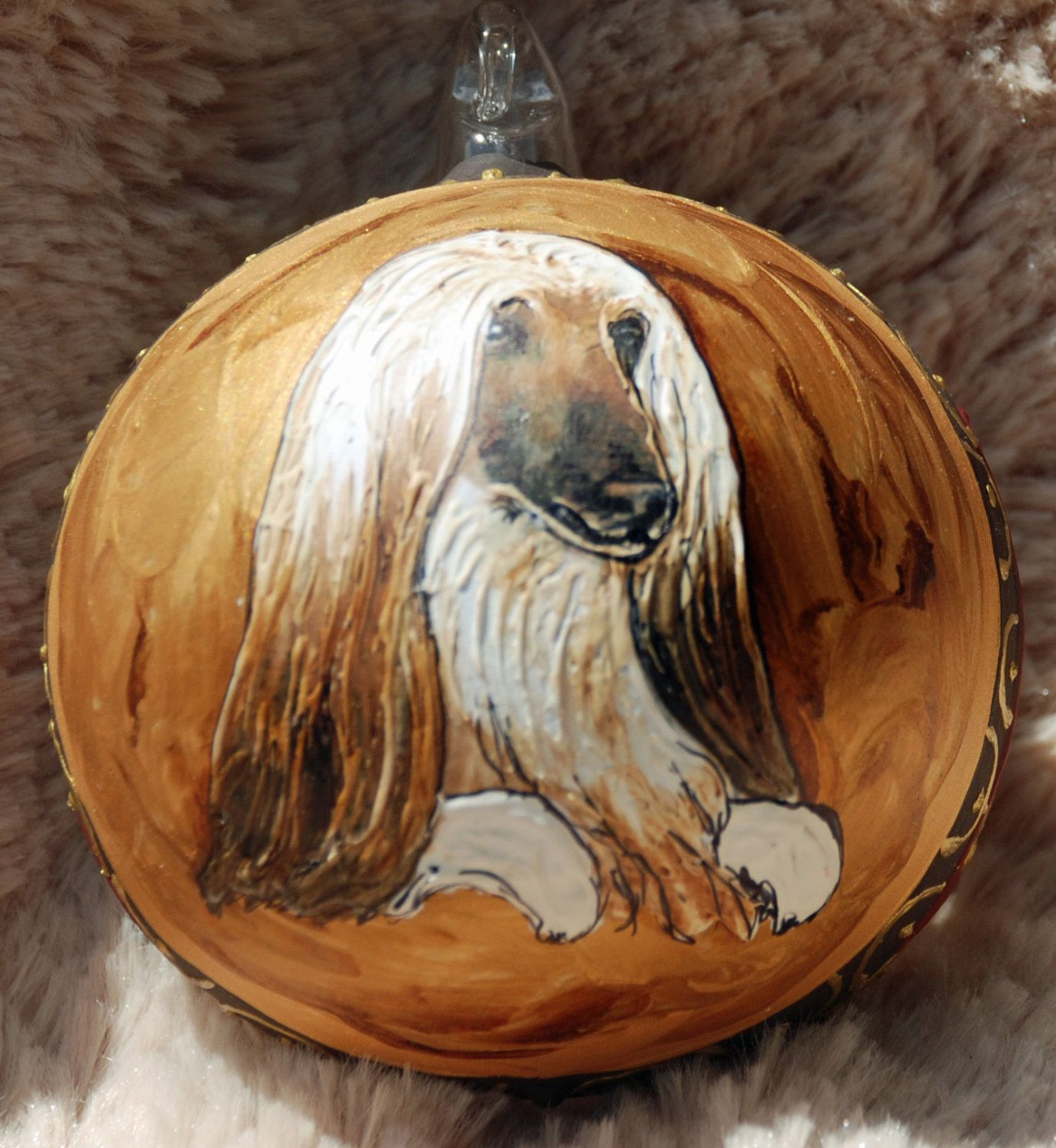 Afghan Hound Dog Handpainted Glass Ornament For The Dog Lover In
