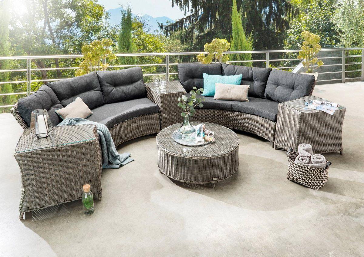 Loungeset Rio 14 Tlg 2x3er Sofa Tisch O 90 Cm Polyrattan