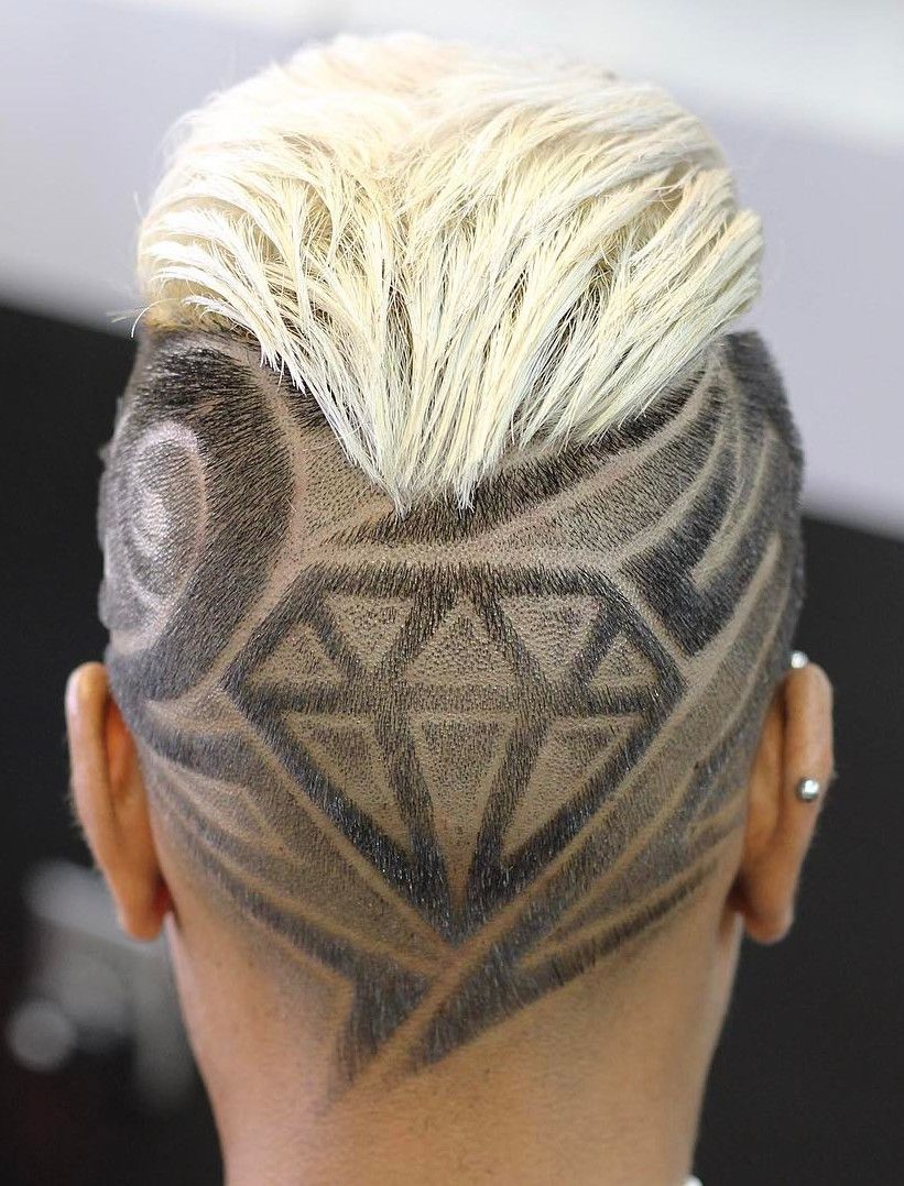 Outshine The Competition Flawless Design By Mr Fineline Hairtattoo Diamond Shaved Head Styles Mens Hairstyles Hair And Beard Styles