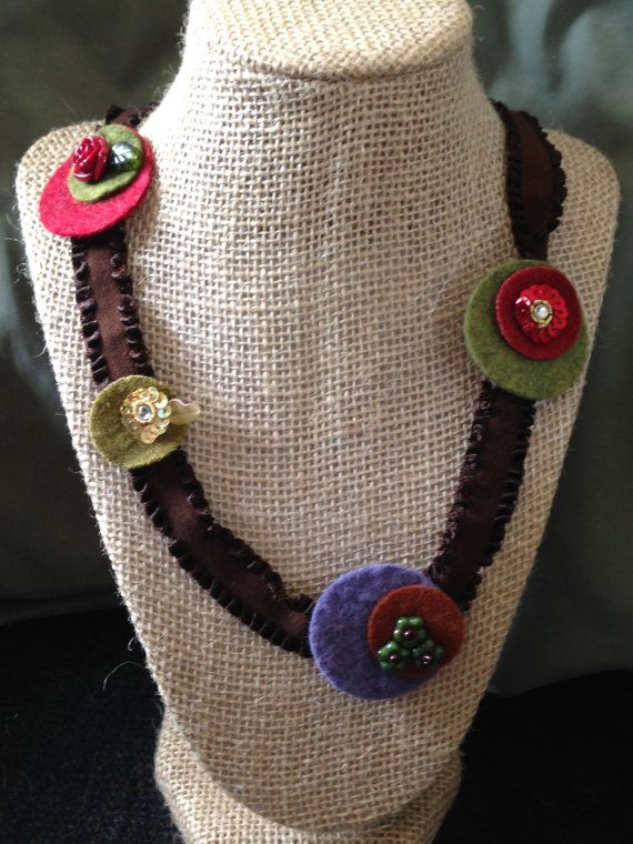 Felt Circle and Bead Ribbon Necklace