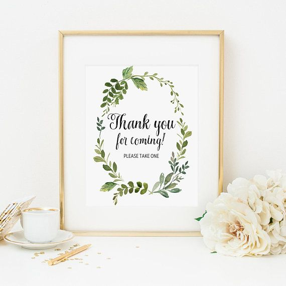 15460b37f29e Greenery Thank You For Coming Please Take One Sign Printable Green Foliage  Favors Sign Bridal Shower Decoration Baby Shower Decoration 347