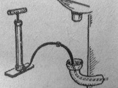 Энергичная прокачка сливной трубы раковины или ванны с помощью авто- или велосипедного насоса соединенного с гибкой резиновой трубкой, ликвидирует любой засор.  Читать больше: http://nasovet.info/topics/bytovye-sovety-domashnemu-masteru/