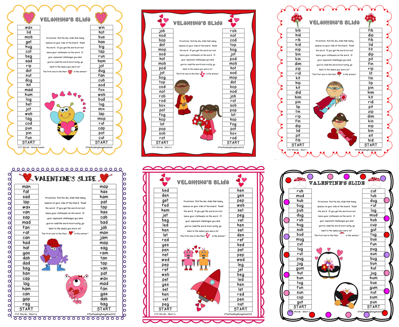 Cvc Blends And Digraphs Gameboards Valentine S Day