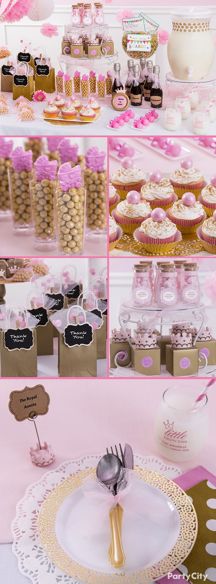 Celebrate the mother-to-be with a baby shower worthy of royalty! Create a  majestic spread with pink organza favor bags, gold gift bags, shimmering  desserts ...
