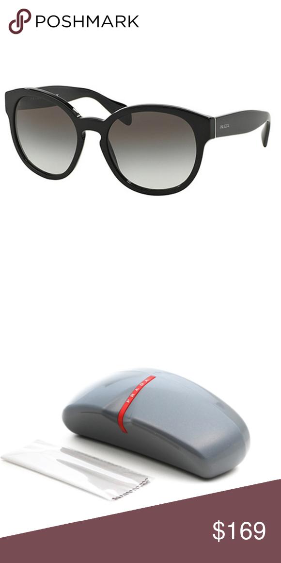 1ba19b6ad830 Prada Sunglasses Black w Grey Prada Oval Sunglasses Men 56mm Lens Size  Having Black Color