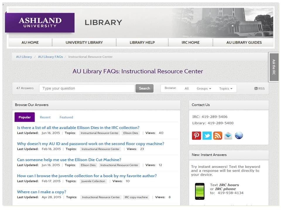 Au Library Faqs The Instructional Resource Center Http