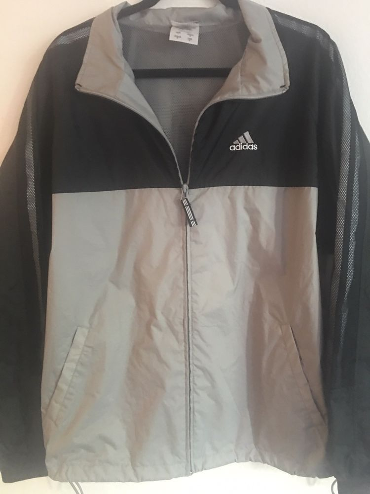 2707ebb424c Adidas Mens Jacket Windbreaker Mesh Lined Gray Black Zip Front Vented Back  L  fashion  clothing  shoes  accessories  mensclothing  activewear (ebay  link)