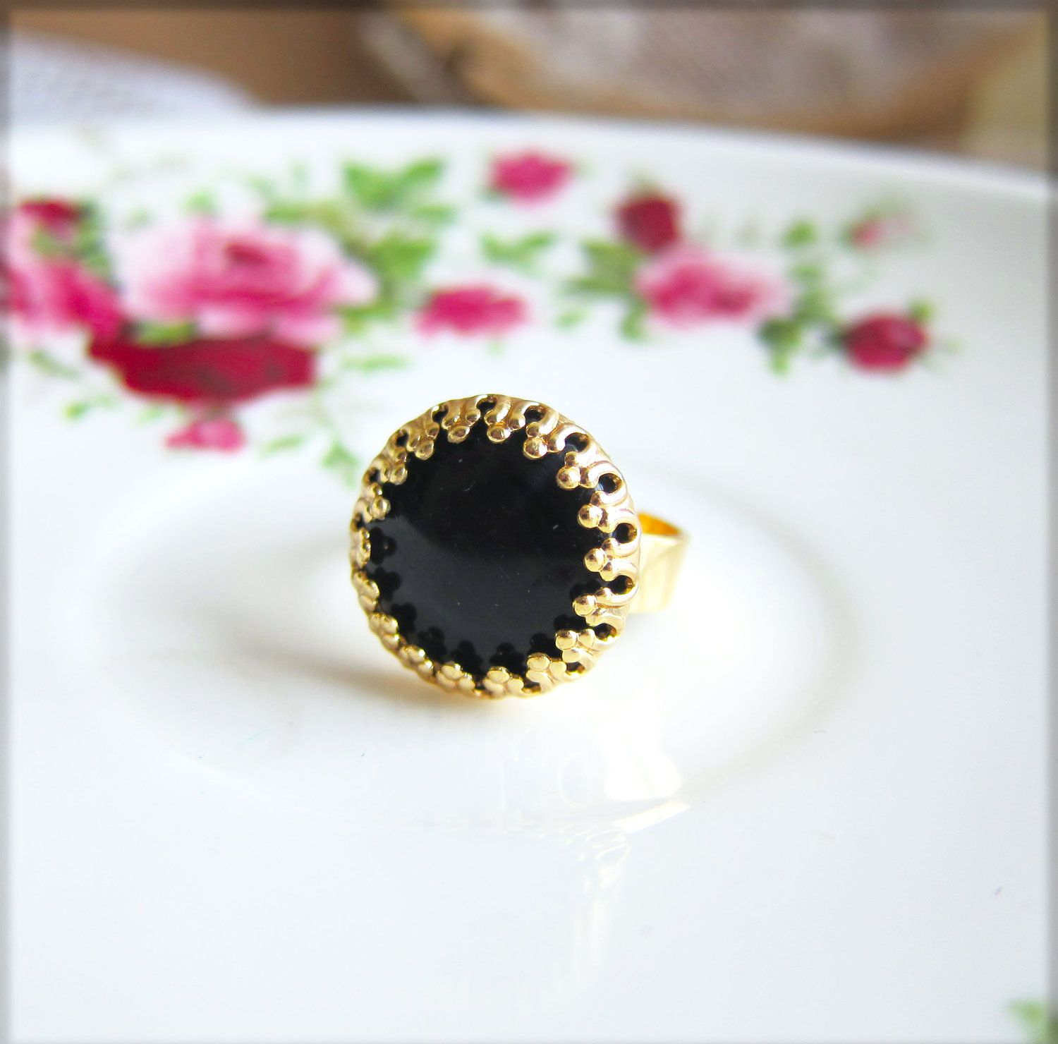 Lord of the Rings Onyx Black Gold Ring Black Ring Black Glass Ring Cocktail Ring Statement Ring 18k Gold Plated Adjustable Ring. $12.00, via Etsy.
