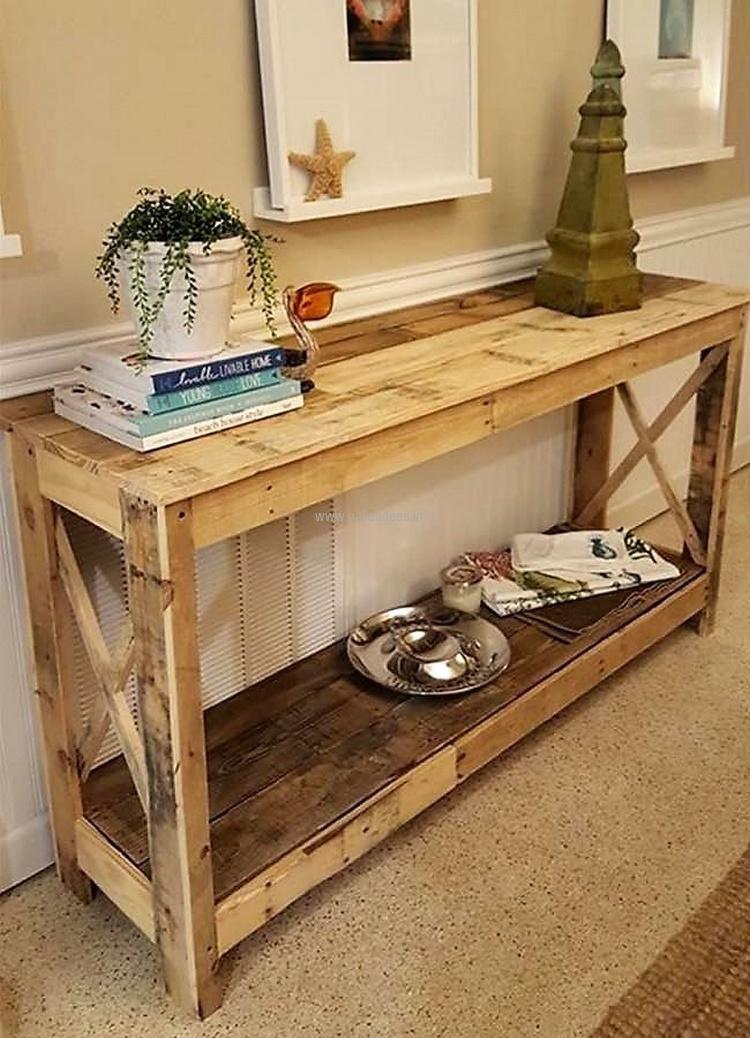 Wood Pallet Entryway Table Diy Pallet Furniture Pallet Projects Furniture Wooden Pallet Furniture
