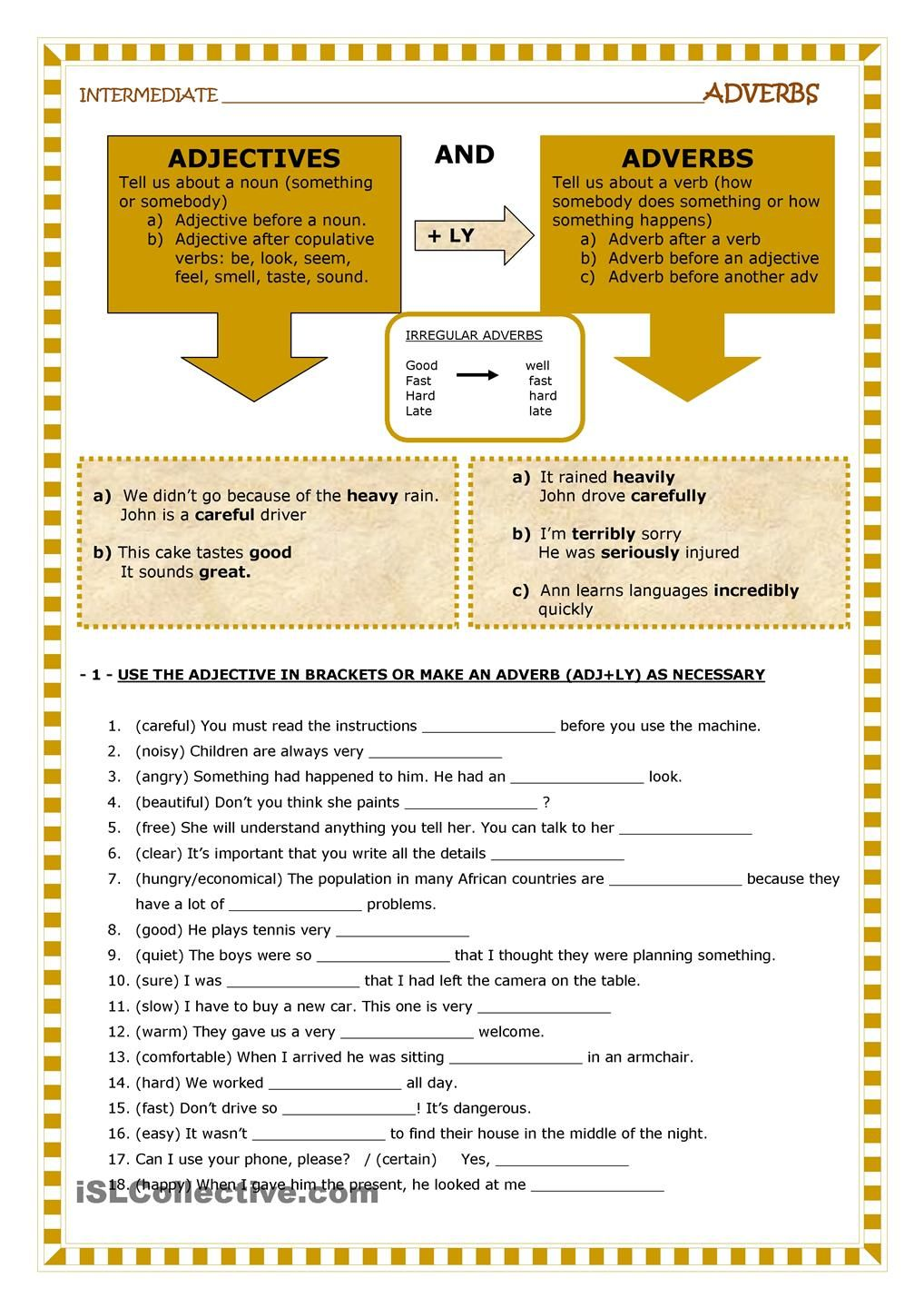 Adjectives And Adverbs Adverbs Adverbs Worksheet English Adjectives