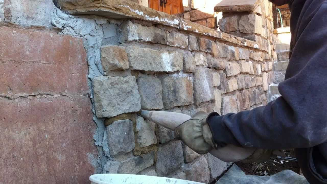 How To Use A Grout Bag Grouting Veneer Stone Part 1 Youtube Stone Veneer Grout Bag Rock Veneer