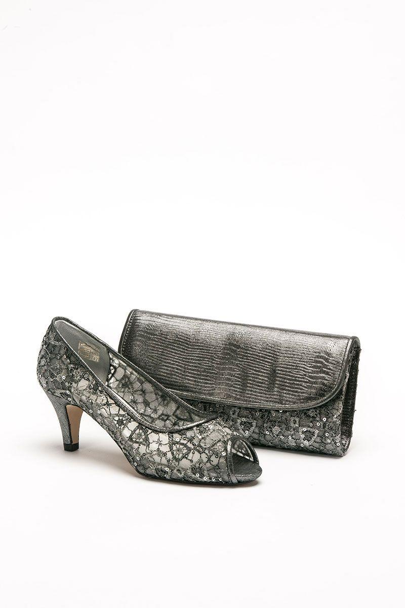 Low Heeled Dark Grey Lace Peep Toe Shoe And Matching Bag Catherines Of Partick Low Heel Shoes Wedding Shoes Low Heel Heels [ 1200 x 800 Pixel ]