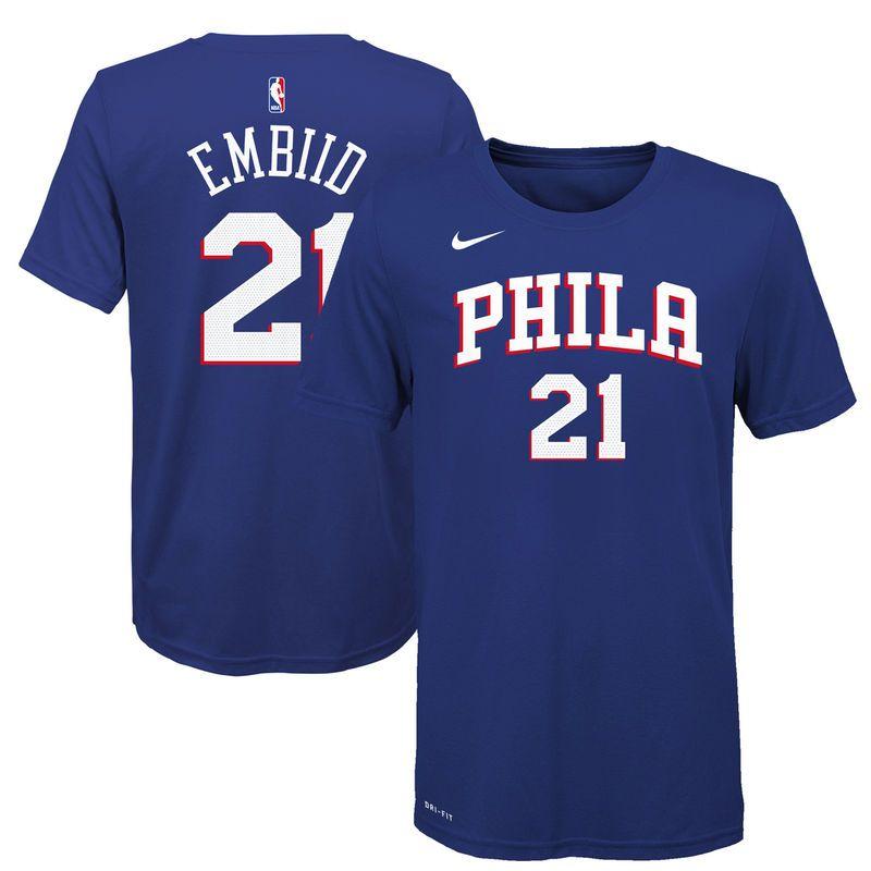 64e5d47570bd Joel Embiid Philadelphia 76ers Nike Youth Name   Number T-Shirt - Blue