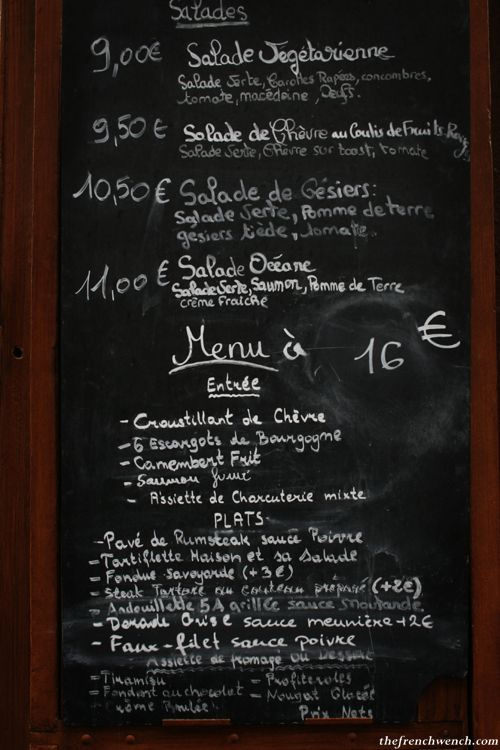 chalkboard menu with french-style cursive Cafe Pinterest Menu - french menu