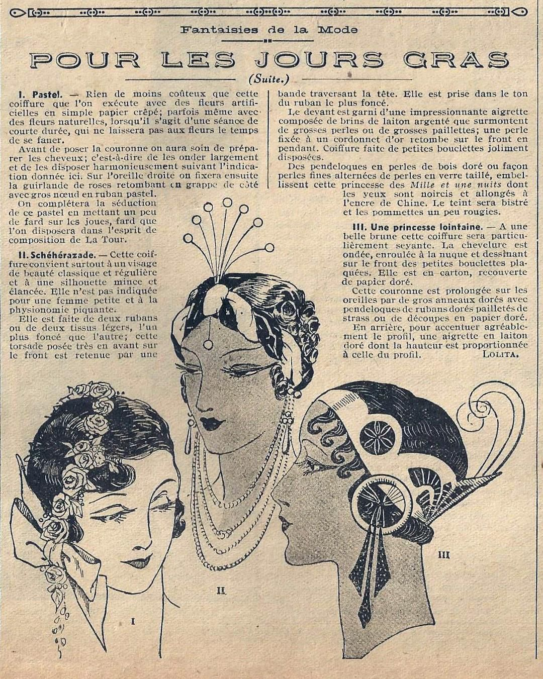 Art Deco French Newspaper article on hairstyles and headdresses - Roaring 20s #vintage #vintagefashion @Rue Mapp Marcellin Check out ruemarcellin.com for original vintage posters and prints