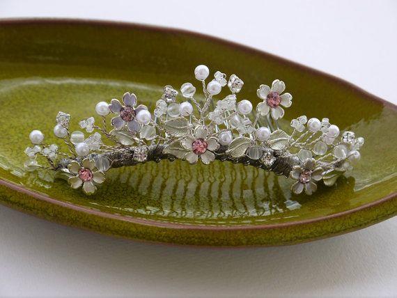 Crystal Tiara pearls Bridal Tiara Crystal by DesignByIrenne