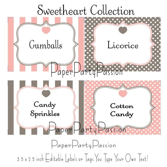 candy buffet printable editable party labels by. Black Bedroom Furniture Sets. Home Design Ideas