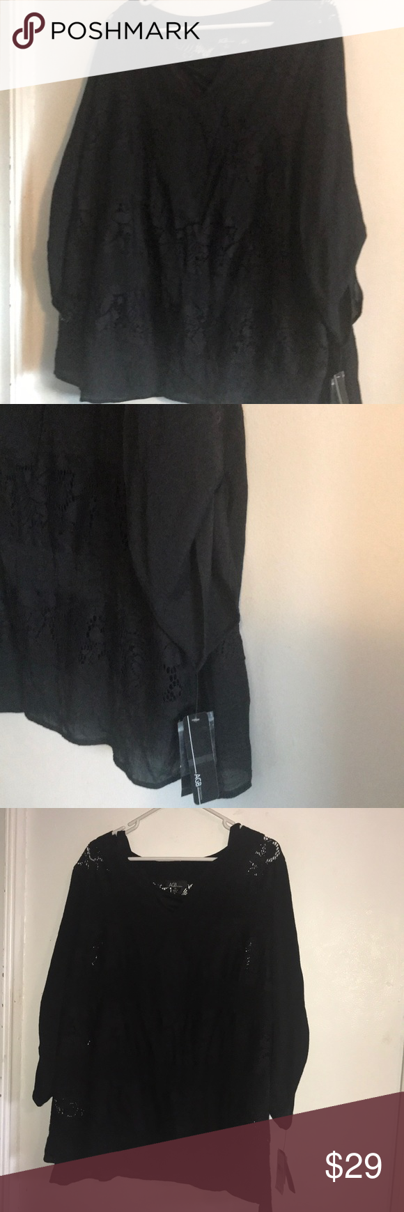 AGB Black Top with Black cami Size 3X Really nice black with cut out lace look and cami underneath AGB Tops