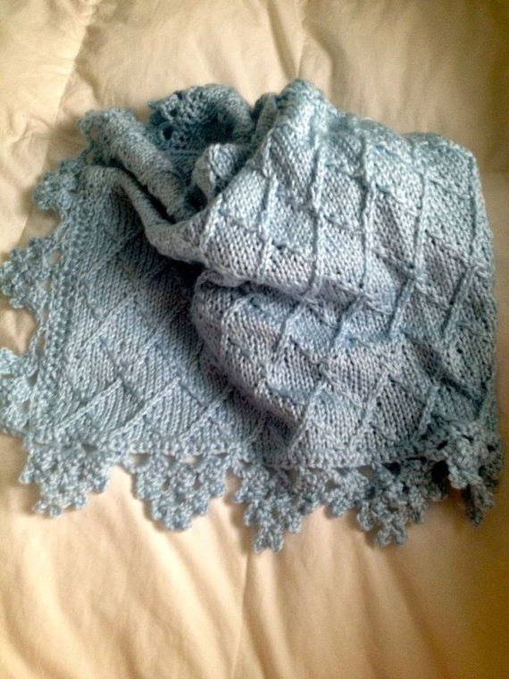 Hand knit baby blanket in diamond pattern with by ...