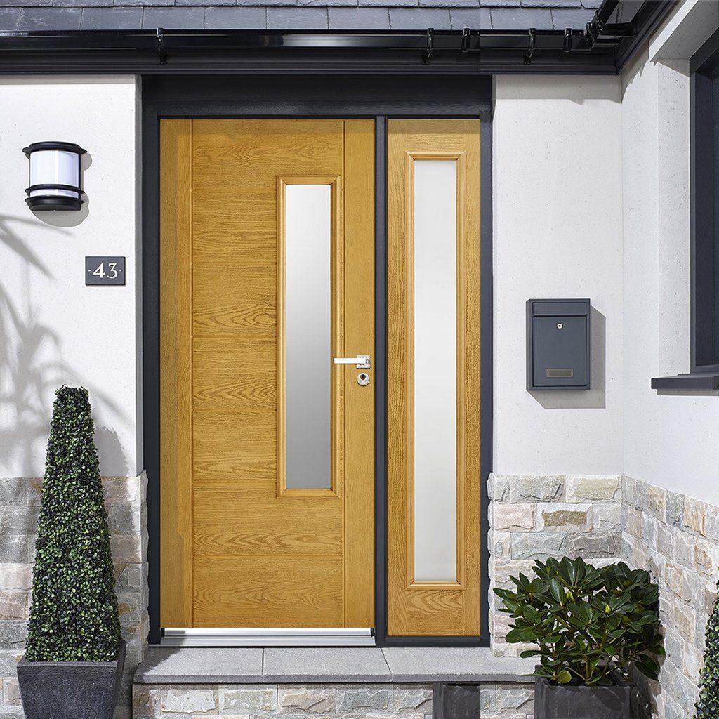 GRP Oak Newbury Glazed Composite Door with Single Sidelight. #doorwithscreen #compositedoor #frontdoor & GRP Oak Newbury Glazed Composite Door with Single Sidelight | Glaze ...