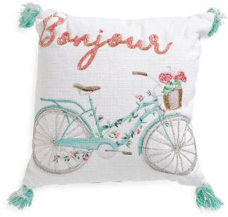 indian antique french cushions. Kids Made In India 16x16 Beaded Bicycle Pillow, Teal And Coral, Vintage, French Indian Antique Cushions