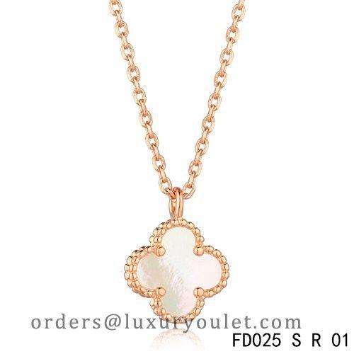 Van cleef arpels sweet alhambra necklace pink gold white mother of van cleef arpels sweet alhambra necklace pink gold white mother of pearl aloadofball Image collections
