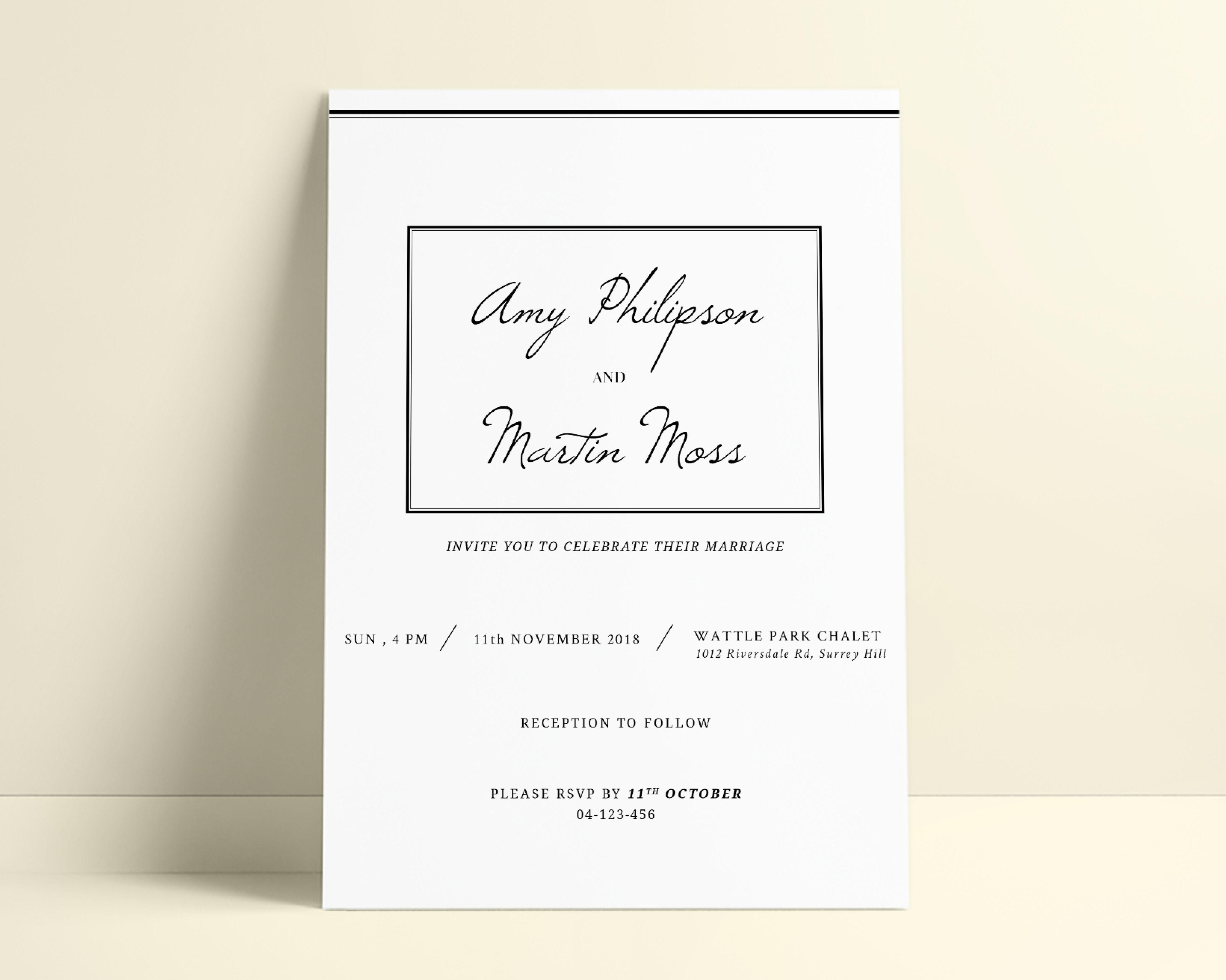 Minimalist Simple Classy Modern Wedding Invitation Template