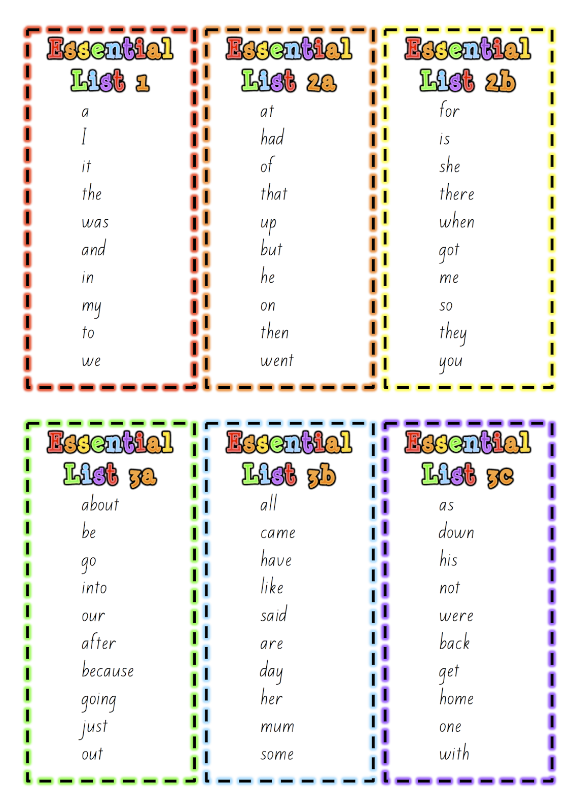 New Zealand Essential Spelling Lists to print from