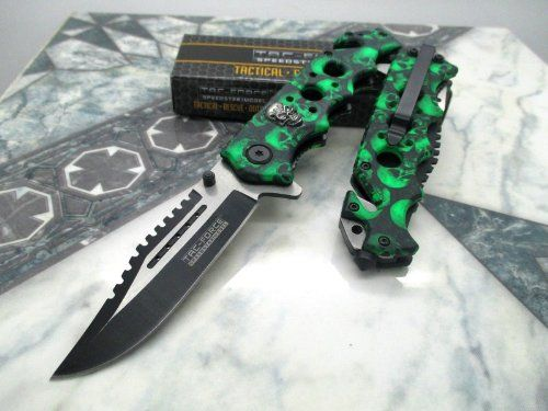 Tacforce Assisted Opening Green Skull Saber Hunting Survival Pocket Knife * You can find out more details at the link of the image.Note:It is affiliate link to Amazon.