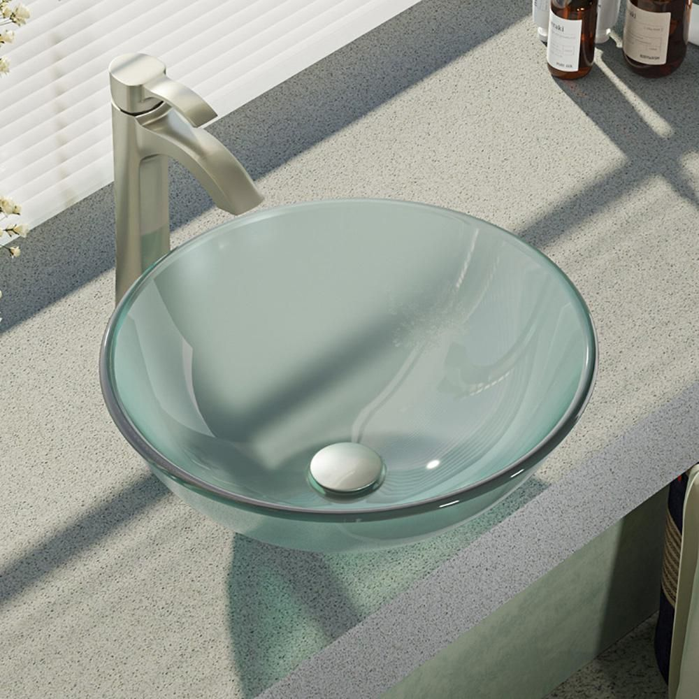 Rene Glass Vessel Sink In Frosted With R9 7006 Faucet And Pop Up