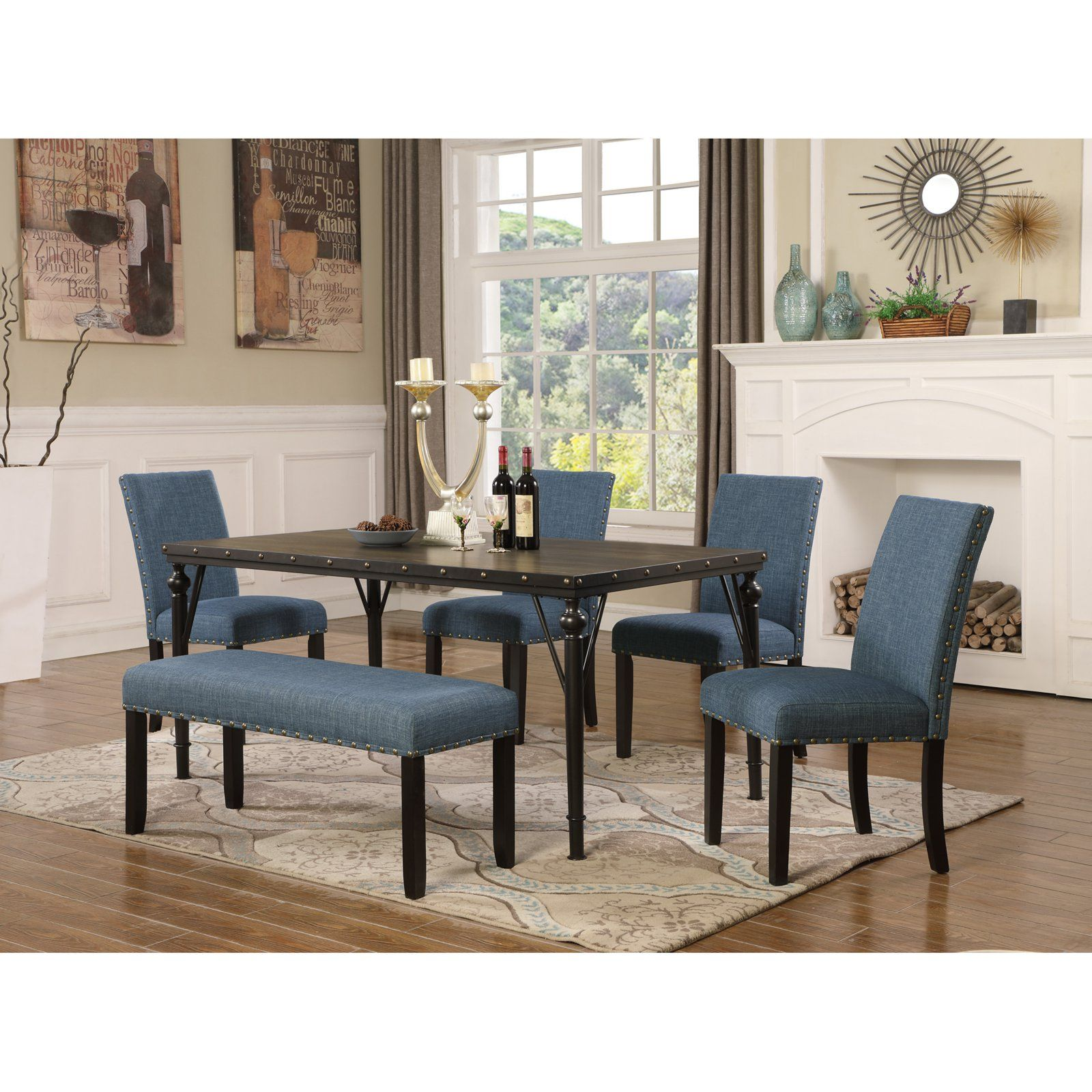 Groovy Roundhill Furniture Biony 6 Piece Wooden Dining Table Set In Andrewgaddart Wooden Chair Designs For Living Room Andrewgaddartcom