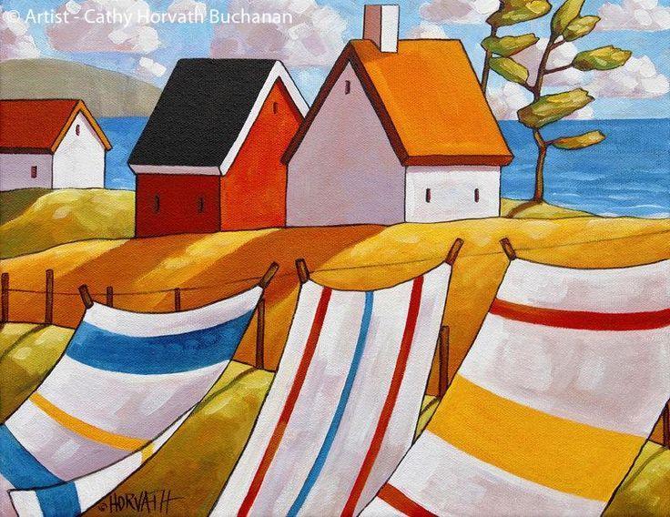 Coastal Beach Towel Folk Art Print, Summer Ocean Cottage Breeze by Artist Cathy Horvath Buchanan, Lake House Wall Decor, Great Gift Idea #artprint #cathyhorvathbuchanan #coastaldecor #summerart #Giftidea