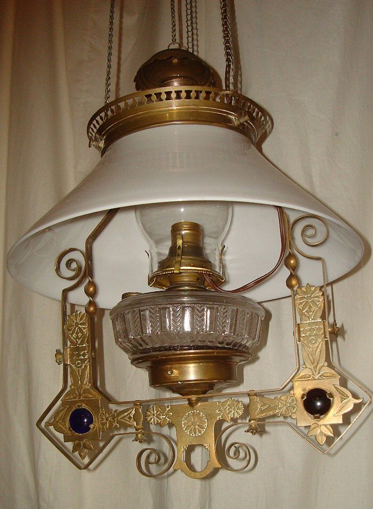 Aesthetic Style Jeweled Hanging Oil Lamp Circa 1880 Converted Electric Lamp Oil Lamps Ceiling Lamp
