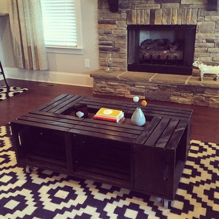 How To Build A Crate Coffee Table Diy Crate Coffee Table Wood Crate Coffee Table Crate Coffee Table