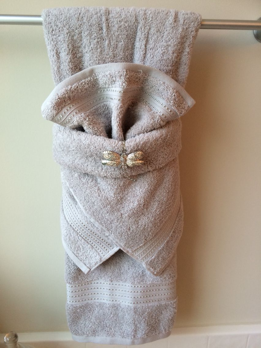Fancy Towel Folding With Dragonfly Bling Bathroom Towel Decor