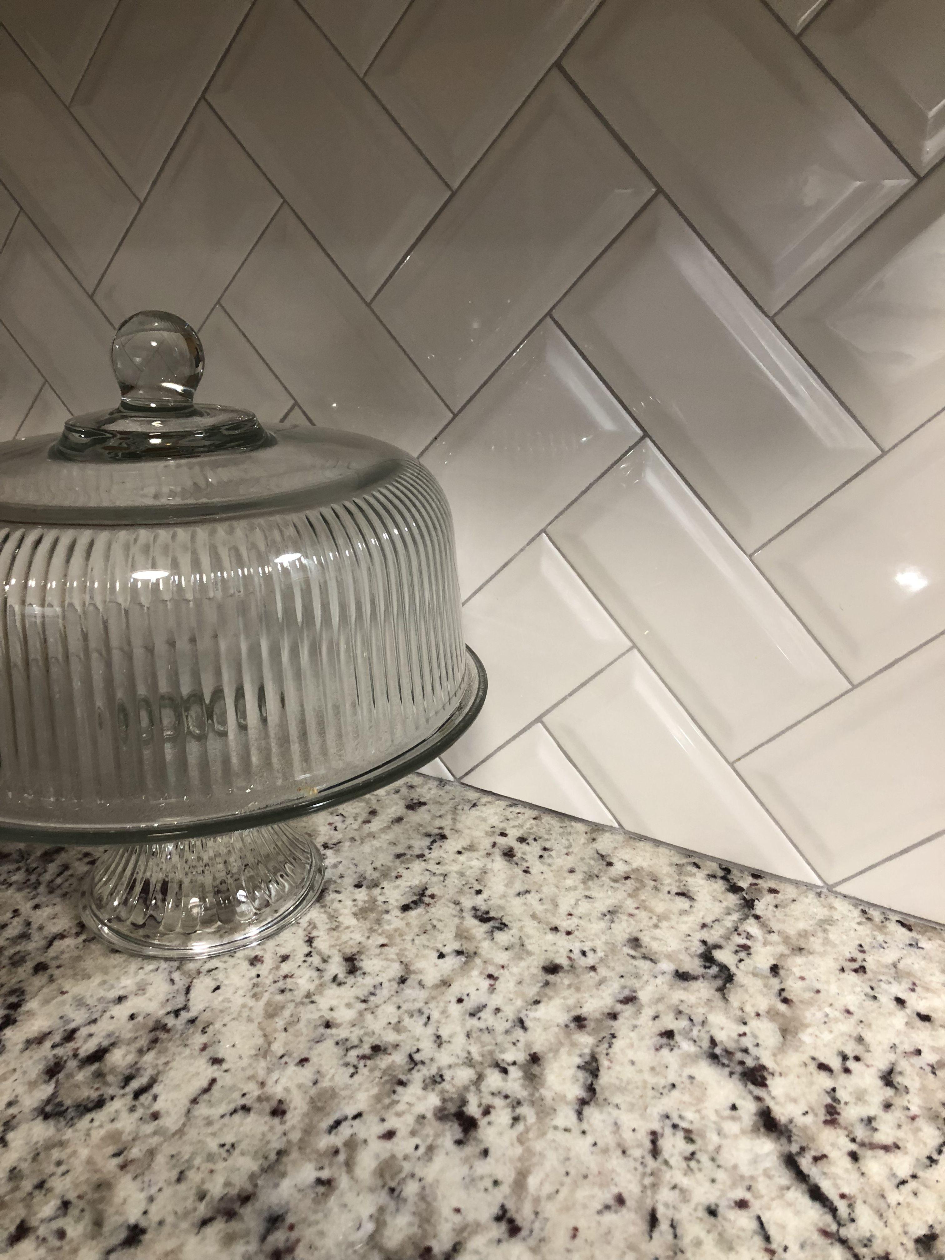 White Gray Kitchen Makeover Granite Countertop And Herringbone Subway Til Grey Granite Countertops Beveled Subway Tile Backsplash Beveled Subway Tile Kitchen