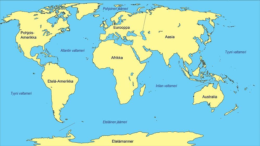 Aasia Osana Maailmaa Maantiede Valtameri Eurooppa