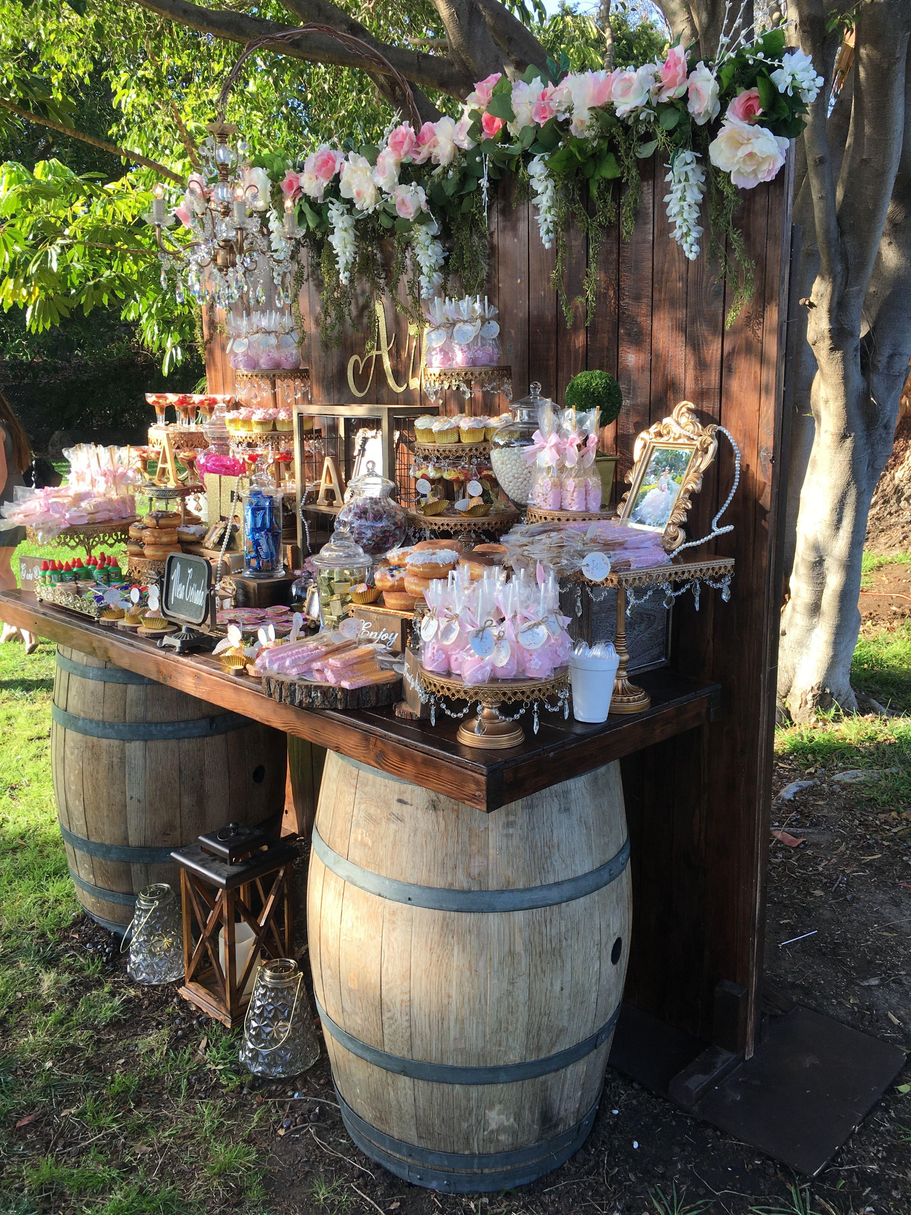 Wood Backdrop Gold Stands Barrel Table Rustic Fall Wedding Rustic Quinceanera Quinceanera Decorations