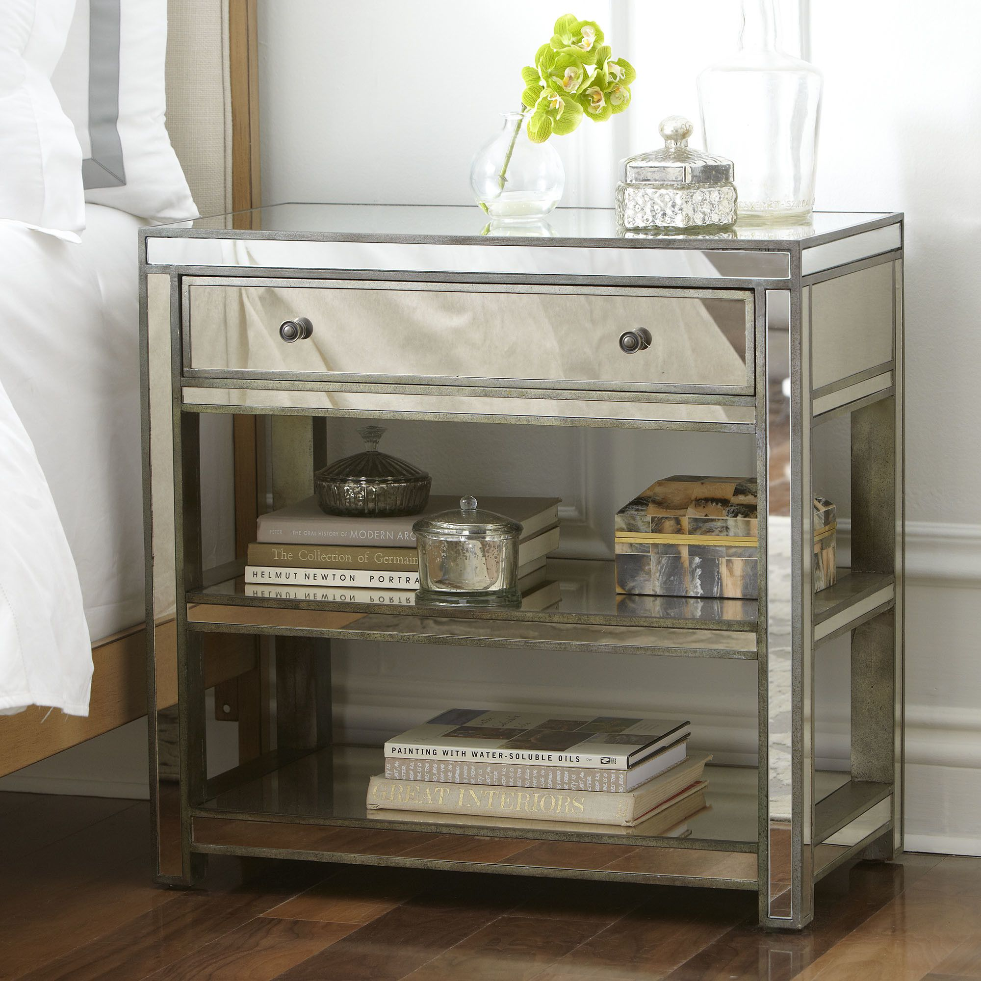 Istres 3 Drawer Accent Chest Mirrored Nightstand Mirrored Side