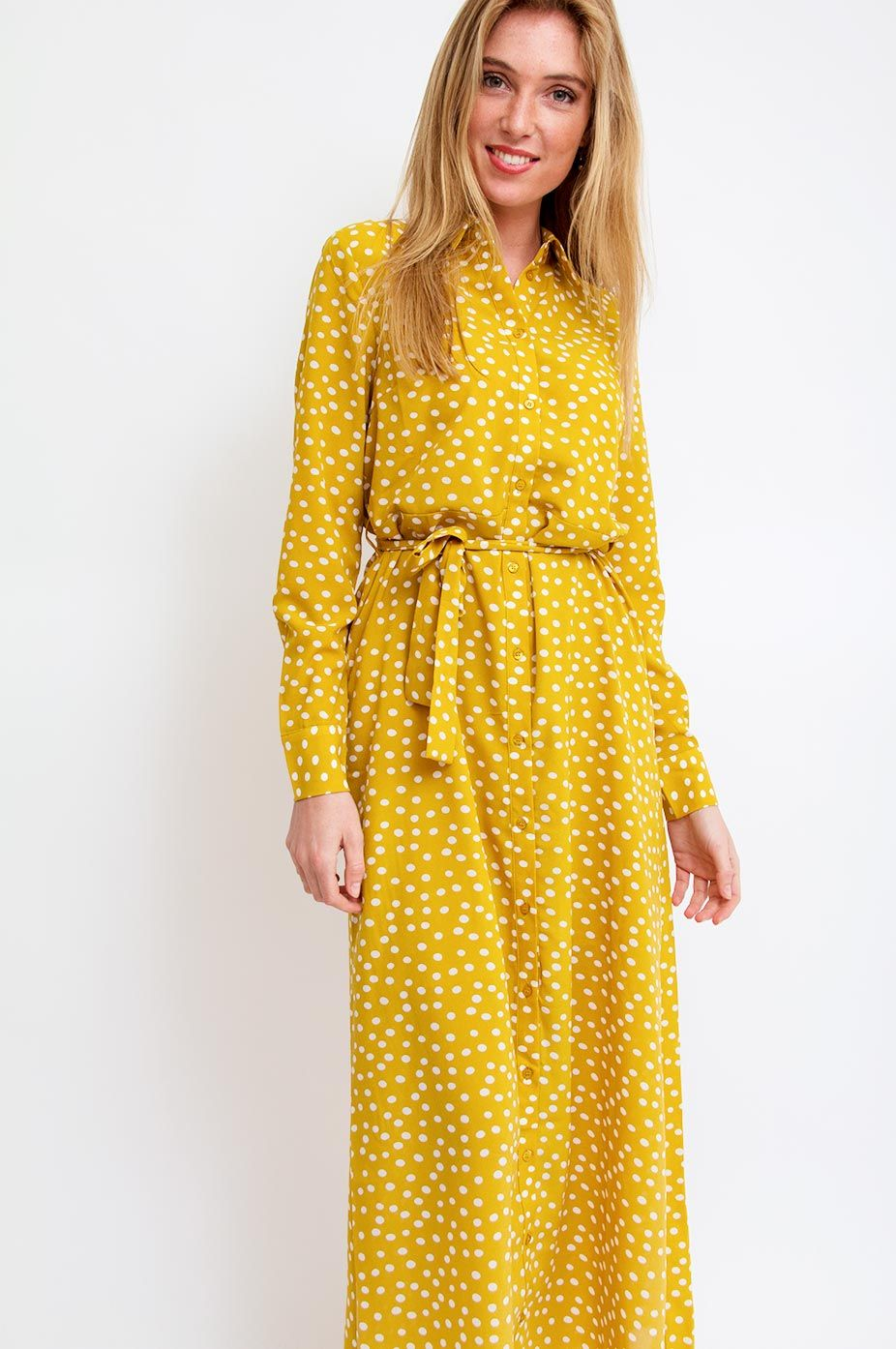 b5420b2c Selected Femme gives this maxi shirt dress a touch of playful character  with its polka dots