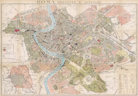 Mappa Di Roma (Map Of Rome)   Vintage Style Italian Map Poster Posters At