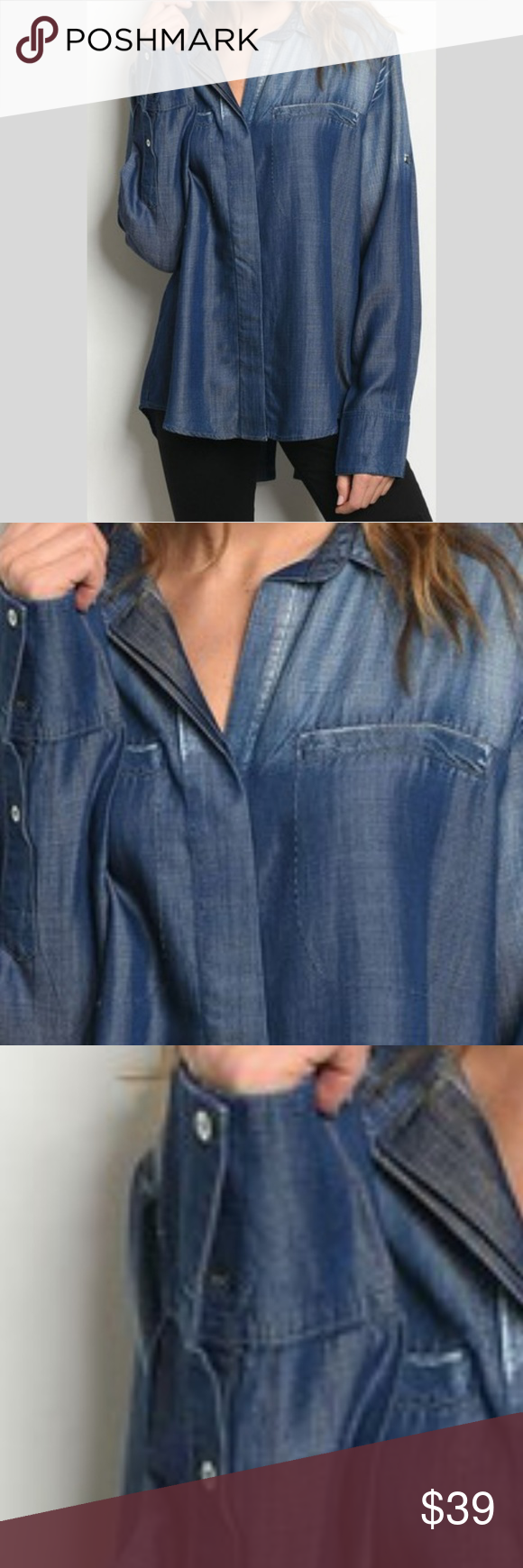 67dd2304484 Long Sleeve Button Down TENCEL Denim Shirt Brand new with tags Boutique  item What is TENCEL