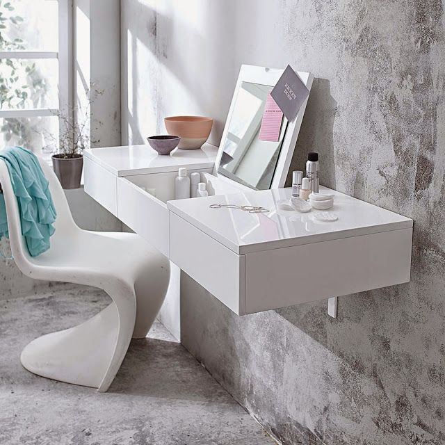 Captivating Wall Mounted Modern White Dressing Table Ideas With Folding Mirror