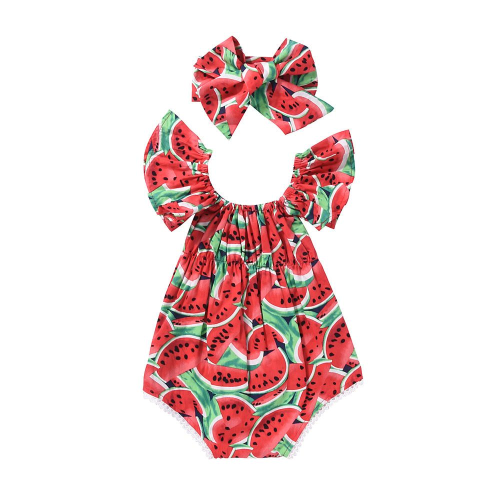 2Pcs Newborn Baby Girls Lemon Romper+Headband Bow Bodysuit Sunsuit Outfit Summer