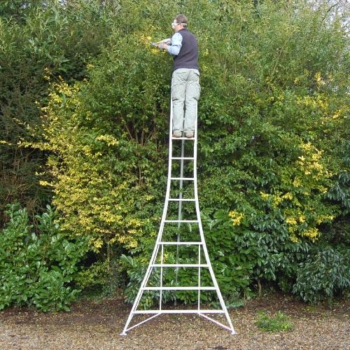 Professional 12ft Platform Tripod Ladder Fully 3 Leg Adjustable