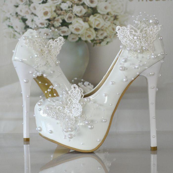 Mariposa de la perla zapatos de novia d