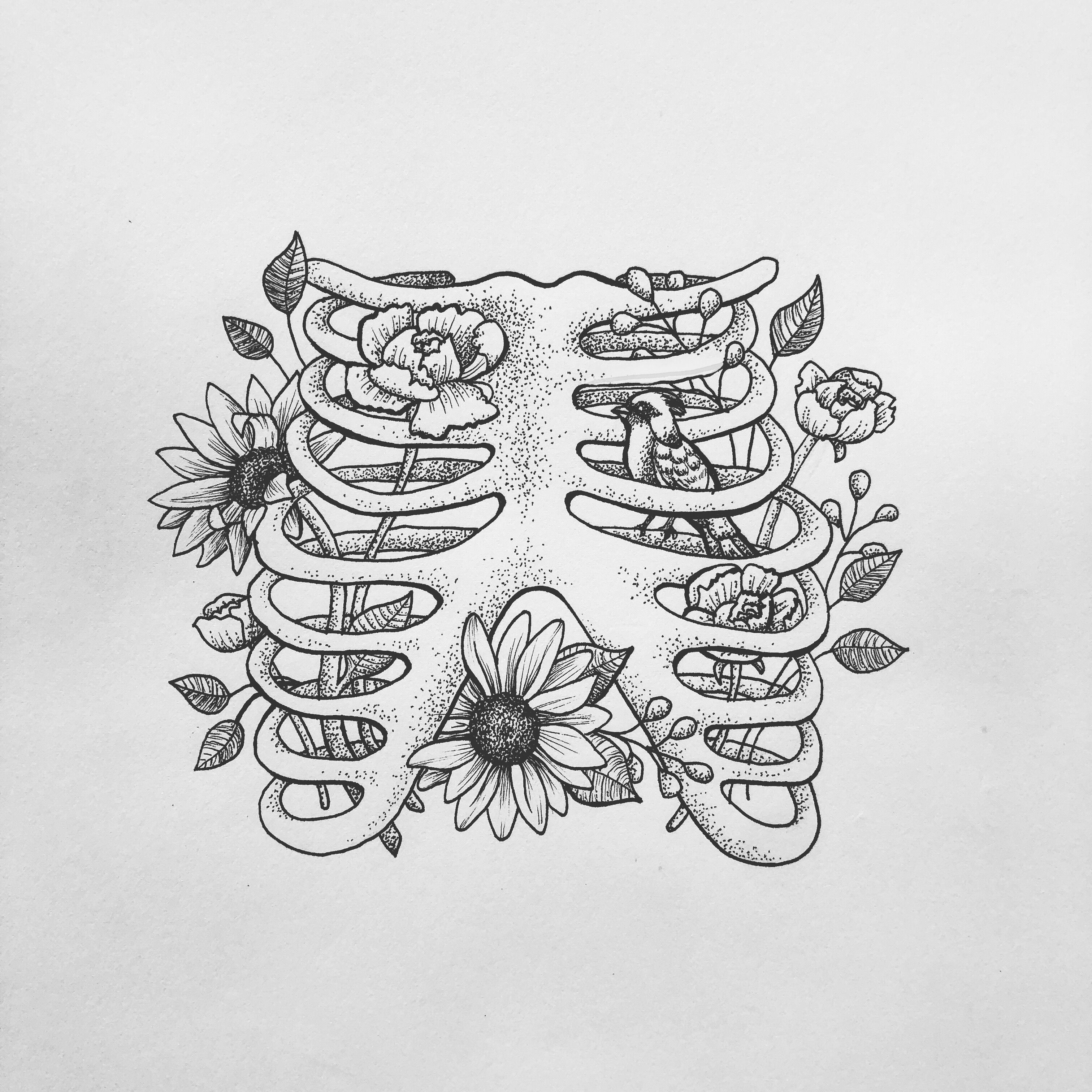 Bird in your rib cage, anatomical tattoo design