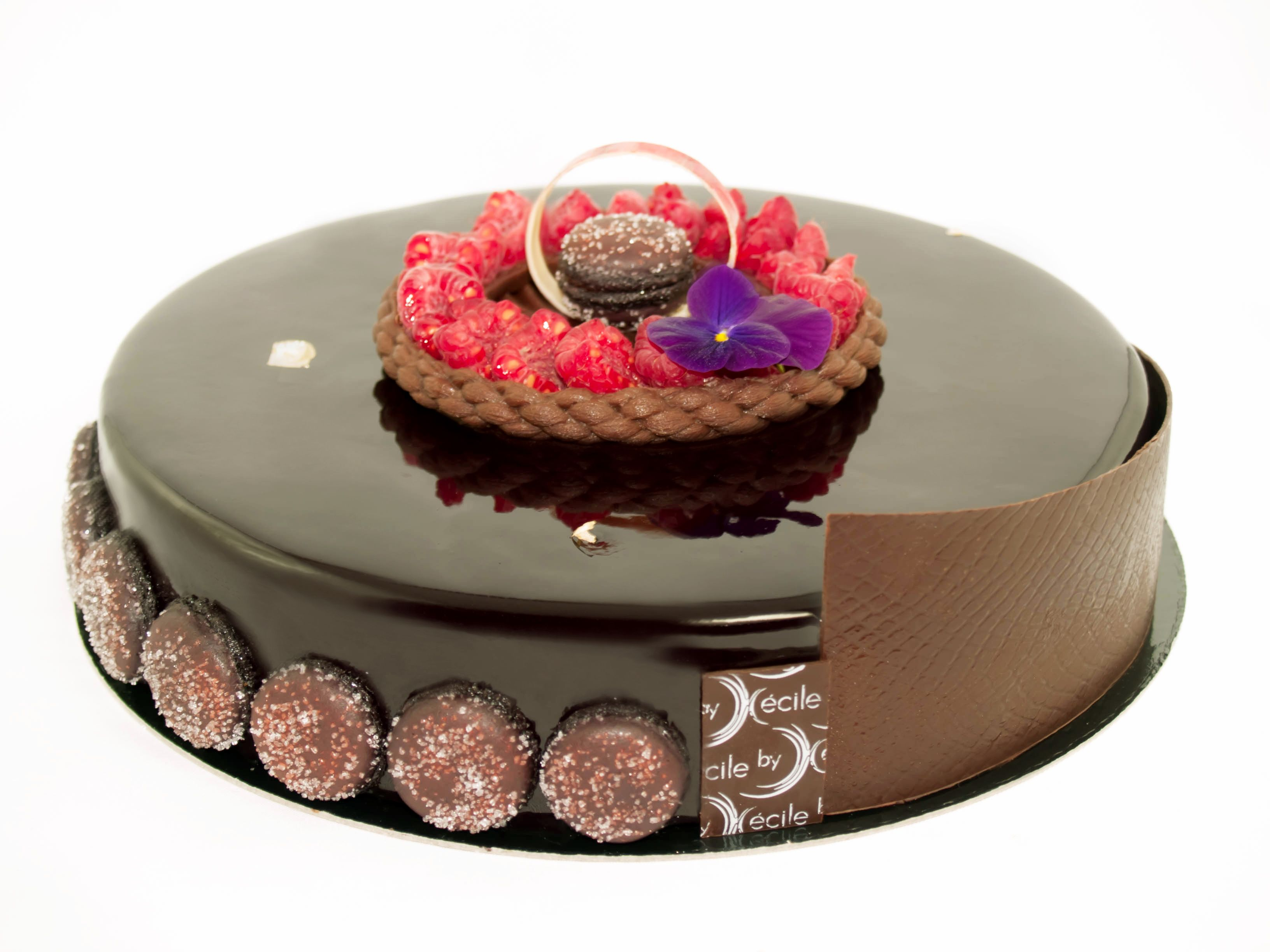 Entremets choco framboise croustillant streusel au for Glacage miroir framboise